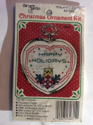 Counted Cross Stitch Happy Holidays with Candle and frame