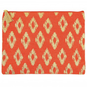 Mud Pie 8613284O Shimmer Juco Carry All Clutch Orange,Poppy Red Ikat