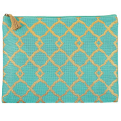 Mud Pie 8613284BL Shimmer Juco Carry All Clutch Aqua,Blue Ink Blot