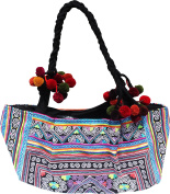 RaanPahMuang Wide Twist Strap Hill Tribe Clutch Bag Purse Thick Embroidery