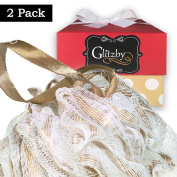 Luxury Bath Pouffe Sponge with Gold Ribbon and Comfort Mesh - Set of 2 Pack by Glitzby - Shower Puff Exfoliating / Cleansing Soft Loofah Scrub Luffa Body For Men / Women / Hands, Feet, Hair