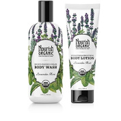 Nourish Lavender Mint Organic Body Wash And Hydrating & Smoothing Organic Body Lotion Bundle With Coconut milk, Vitamin E, Cupuaçu and Sweet Almond, 300ml and 240ml each