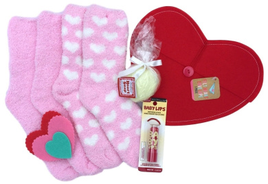 Maybelline Baby Lips Balm Spice it Up and Pink Hearts Fuzzy Socks, Heart Shaped Soap and Red Felt Heart Envelope