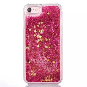 iPhone 7 Plus Case Cover Moonmini Glitter Liquid Floating Hearts Moving Sands Hard PC Back Protector for iPhone 7 Plus - Hot Pink