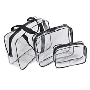 Healthcom 3 in 1 Makeup Bags & Cases Plastic Travel Tolietry Bag Clear PVC Tolietry Travel Bag Organiser for Men and Women