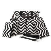 5 in 1 Baby Nappy Bag Black and White Chevron Cotton Canvas with Changing Pad, Milk Bottle Bag ,Handbag,2 Stroller Straps