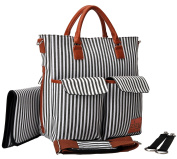 ZIZU Designer Nappy Bag with Loads of Pockets to Fit Everything you Need, Fabric, Zippers & Comfy Soft Straps -Large, Grey Stripes