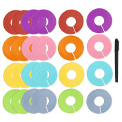 Caydo 24 Pieces 8 Colours Clothing Size Dividers Round Hangers Closet Dividers with Marker Pen