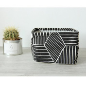 Small Canvas Fabric Foldable Organiser Storage Basket with Handle, Collapsible and Convenient for Nursery and Babies Room