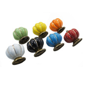 OULII 7pcs Colours Pumpkin Shaped Ceramic Kitchen Pull Handles Cupboard Cabinet Drawer Door Knobs