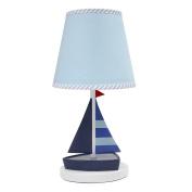 Lambs & Ivy Regatta Nautical Lamp with Shade & Bulb, Blue/Grey