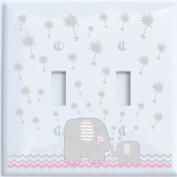 Grey and Pink Dandelion Elephant Light Switch Plates Covers / Double Toggle / Elephant Nursery Decor