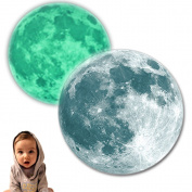 3D High Luminous Moon 40cm Glow In the Dark Fluorescent Sticker Decal Bedroom Nursery Decor Wall Art Mural Free Gift Falling Stars