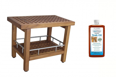 Patented Grate 60cm Teak & Stainless Shower Bench with Shelf & AquaTeak Premium Teak Oil