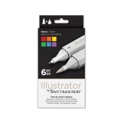 Illustrator by Spectrum Noir 6 Piece Twin Tip Artist Alcohol Marker, Basic