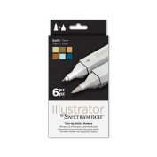 Illustrator by Spectrum Noir 6 Piece Twin Tip Artist Alcohol Marker, Earth