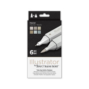 Illustrator by Spectrum Noir 6 Piece Twin Tip Artist Alcohol Marker, Neutral