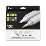 Illustrator by Spectrum Noir 12 Piece Twin Tip Artist Alcohol Marker, Landscape