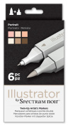 Illustrator by Spectrum Noir 6 Piece Twin Tip Artist Alcohol Marker, Portrait