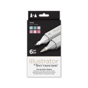 Illustrator by Spectrum Noir 6 Piece Twin Tip Artist Alcohol Marker, Tones