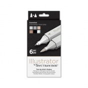 Illustrator by Spectrum Noir 6 Piece Twin Tip Artist Alcohol Marker, Essentials,