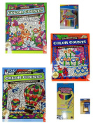 Colour Counts Landscapes/Gardens/Celebrations Colouring Books/Crayons/Coloured Pencils/6-pc Bundle