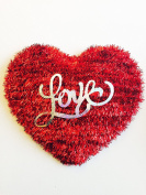 """Valentine's Day Red Tinsel """"Love"""" Heart Decoration"""