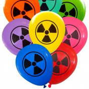 Radioactive Symbol Balloons (16 pcs) Assorted Colours by Nerdy Words