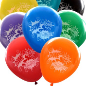 Super Hero Balloons (16 pcs) Bam Zap Ka-Pow Comic Sound Effects in Assorted Colours by Nerdy Words
