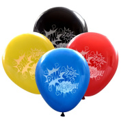 "Super Hero Balloons (16 pcs) Bam Zap Ka-Pow Sound Effects in ""Comic Book"" Colours by Nerdy Words"