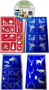 Wild Life & Outdoors Glass Etching Stencils (4) Pack of Deer, Elk, Ducks, Eagle, & Mountains + How to Etch CD