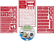 Wedding Stencils (3) Pack , Over N Over Reusable Marriage Designs + How to Etch CD