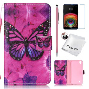LG X Power Case, LG K6P Case, Everun [Slim Fit] [Card Slot] Premium Leather Wallet Case Book Style Flip Protective Stand Cover for LG X Power / LG K6P [Butterfly]