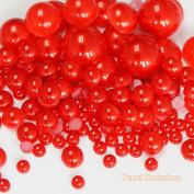 (550pcs, Red) Mixed Size 3/5/8/10mm Half Round Flat Back Pearl Resin Cabochons Scrapbooking Art Nail Craft