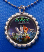 1 ZOOTOPIA Silver Bottle Cap Pendant Necklace #1
