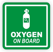 1-PCs Excelling Popular Oxygen On Board Vinyl Stickers Sign Weatherproof Off Road Decal Camper Decor Size 10cm x 10cm Colour White on Green Background