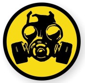 1-Pc Excellent Popular Gas Mask Symbol Zombie Car Stickers Infectious Disease Hard Hat Label Window Permit Size 5.1cm Colour Black and Yellow