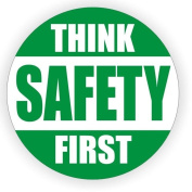 1 Pcs Extreme Popular Think Safety First Car Sticker Sign Medical Security Factory Label Camper Shop Size 5.1cm Colour Green and White