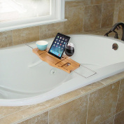 ARAD Luxury Bamboo Bathtub Caddy Tray with Extending Sides