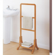 Contemporary Bamboo Free Standing Towel Rack-Caramel