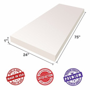 """Upholstery Foam Cushion Sheet- 2.5cm x 60cm x 75""""-High Density Support-Premium Luxury Quality- Good for Sofa Cushion, Mattresses, Wheelchair, Poker Table, and Much More- Dream Solutions USA"""