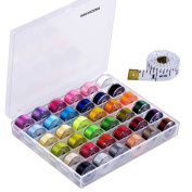 Paxcoo 36 Pcs Bobbins and Sewing Threads with Case and Soft Measuring Tape for Brother Singer Babylock Janome Kenmore