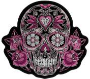 Pink Sugar Skull 18cm Embroidered Patch NOVJBP068