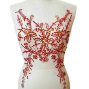 Sumptuous Exquisite Embroidery AB Colour Sew on Rhinestones Applique Pure Manual Collar Waist Costume Dress Fine Applique Motif Dress Trim trimming 28x49cm