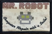 Mr Robot Morale Patch. Perfect for your Tactical Military Army Gear, Backpack, Operator Baseball Cap, Plate Carrier or Vest. 5.1cm x 7.6cm Hook and Loop Patch. Made in the USA