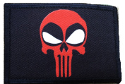Deadpool Punisher Morale Patch. Perfect for your Tactical Military Army Gear, Backpack, Operator Baseball Cap, Plate Carrier or Vest. 5.1cm x 7.6cm Hook and Loop Patch. Made in the USA