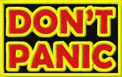 Don't Panic Embroidered Iron On Applique Patch - Black, Yellow, Red, 8.3cm x 5.1cm Rectangle
