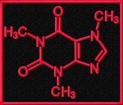 Molecular Diagram Caffeine Molecule Science Embroidered Iron On Applique Patch - Black, Neon Red, 7.6cm x 8.9cm Rectangle