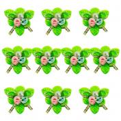 HAND Pretty Fabric Ribbon and Bead Sew In Multi Flower Trim for Clothing and Accessory Embellishment 35 mm x 35 mm Pack of 10, Green