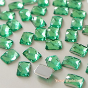 (50pcs, Light Green) Rectangle Shape 6mm x 8mm Acrylic Flat Back Facet Rhinestones Cabochons Deco Scrapbooking Art Nail Craft Colours